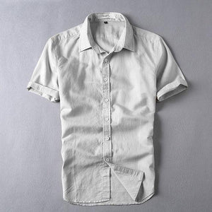 WMSHUO 2017 Summer Men 4XL Casual Shirts Solid White Short Sleeve Cotton Linen Dress Shirts Camisa Masculina Y006-cgabuy