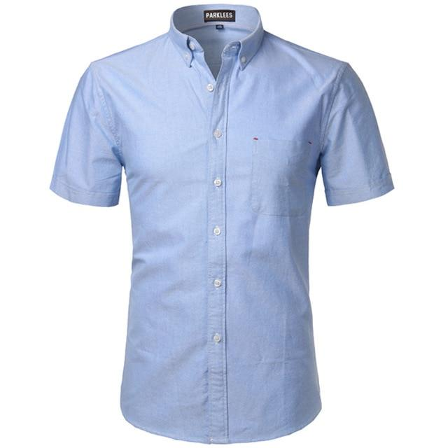 Oxford Shirt Men 2017 Brand New 100% Cotton Short Sleeve Mens Dress Shirts Casual Slim Fit Soft Chemise Homme Camisa Masculina-cgabuy