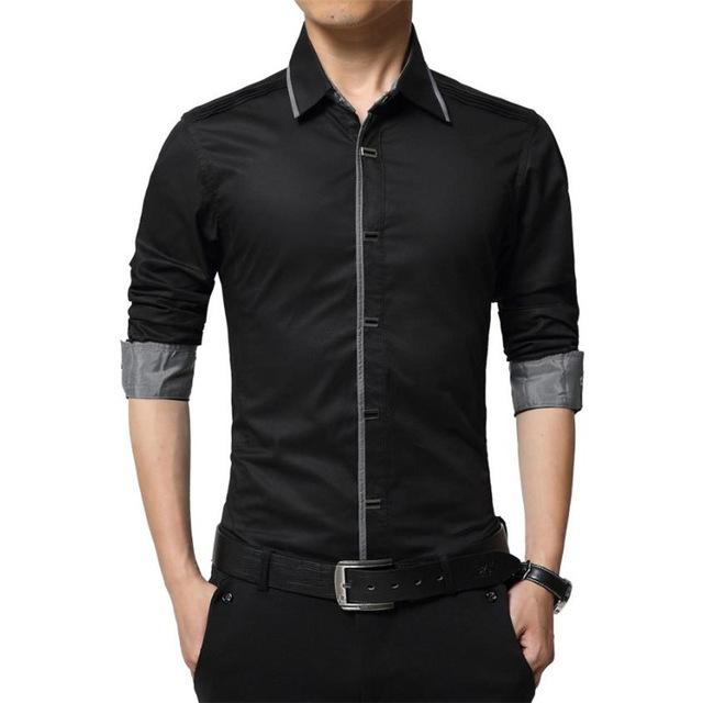 2018 Spring Autumn Cotton Dress Shirts High Quality Mens Casual Casual Men Slim Fit Social Shirts Plus Size-cgabuy