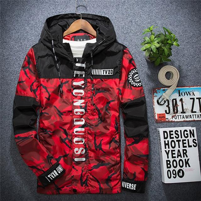 LeeLion 2018 New Camouflage Reflective Jacket Men Zipper Cardigan Hooded Coat Spring Fashion Casual Men's Slim Fit Windbreaker-cgabuy