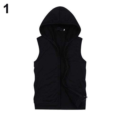 Fashion Men Summer Sleeveless Zip Fitness Casual Hooded Vest Outwear-cgabuy