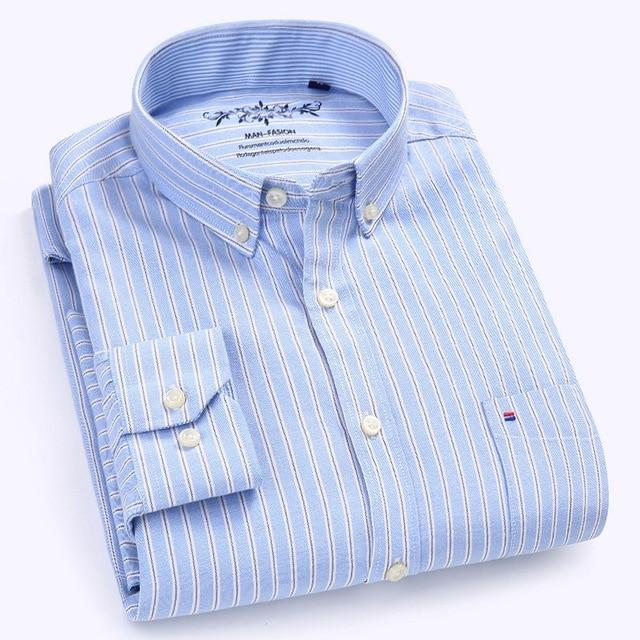 LANGMENG 2018 New Arrival Long Sleeve Men Shirts Cotton Formal Dress Shirt Male Fashion Slim Fit Striped Casual Shirt Men-cgabuy