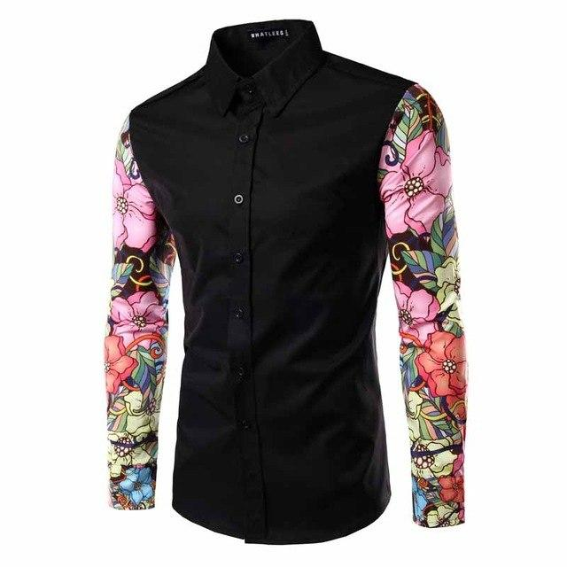 2016 New Arrival Man Shirt Pattern Design Long Sleeve Flowers Print Slim Fit man Casual Shirt Fashion Men Dress Shirts-cgabuy