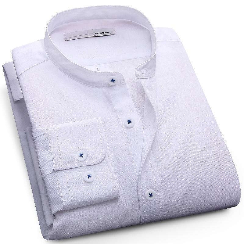 Langmeng plus size 5XL mandarin collar solid color fashion dress shirt men long sleeve spring autumn mens oxford casual shirt-cgabuy