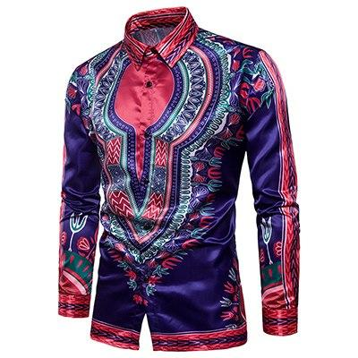 Men's autumn new 2017 Personality casual Shirt clothes men Ethnic style Digital pattern cotton dress long-sleeved shirt S-XXL-cgabuy