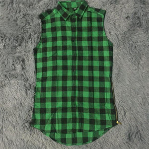 HZIJUE 2018 mens fashion hip hop shirts streetwear urban clothing hiphop men clothes plaid zipper shirt kanye justin bieber-cgabuy