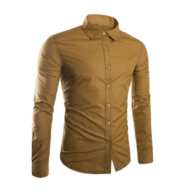 Fashion Spring Autumn Men Shirt Long Sleeve Solid Color Easy-care Anti Crease Man Casual Shirts M-3XL FS99-cgabuy