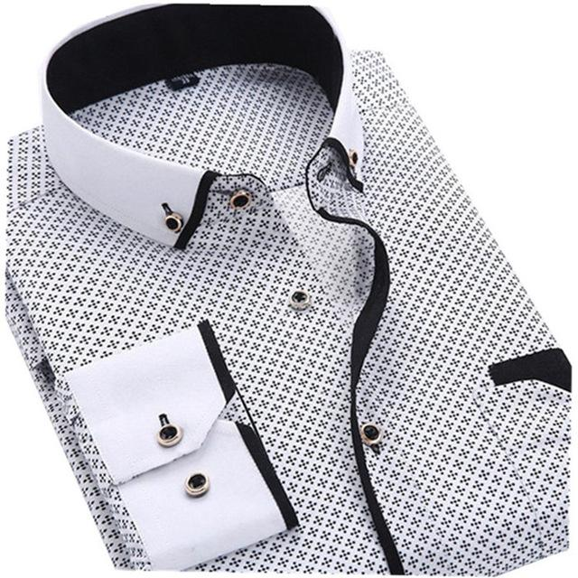 Printed long sleeve Smart casual Soft comfortable menswear Fashion Slim Fit Male Men Clothing chenFreizeitmode Brand Dress Shirt-cgabuy