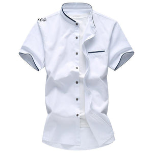 5XL 6XL 7XL Men's Shirt Summer Big Size Oxford Fabric Business Casual Short Sleeve Shirt Male Solid Color Fashion Brand Shirt-cgabuy