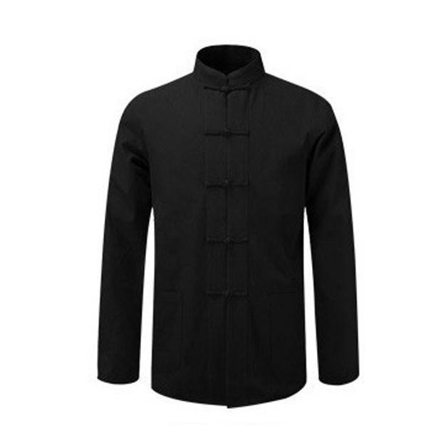 New Male Cotton Shirt Traditional Chinese Men Coat Clothing Kung Fu Tai Chi Uniform Autumn Spring Long Sleeve Jacket for Man-cgabuy