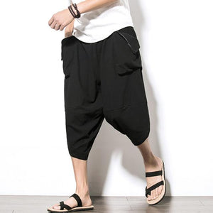 Hot sale 2018 summer Linen Hip Hop Harem Pants Men Casual Loose Trousers Drawstring Cross Bloomers Pants Joggers size M-5XL-cgabuy