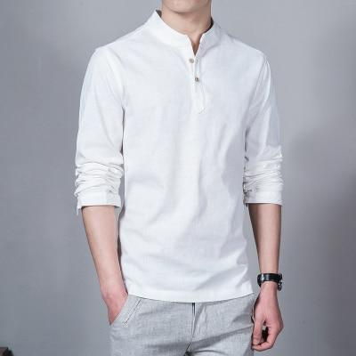 2018 Fashion Long sleeve Men's shirts male casual Linen shirt men Brand Plus size Asian size camisas DX366-cgabuy