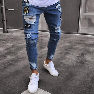 2018 Fashion Mens Jeans Fortnite Skinny Rip Slim Stretch Denim Distress Frayed Biker Jeans Boys Embroidered Pencil Trousers-cgabuy