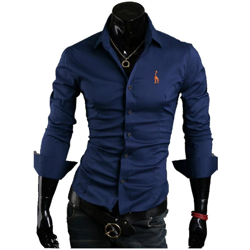 2018 New Designer Slim Fit Mens Casual Shirt Fashion Long Sleeve Embroidery Social Shirt Male Shirts Chemise Homme XXXL-cgabuy