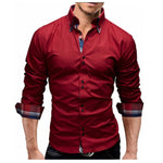 Men Shirt 2018 Spring New Brand Business Men'S Slim Fit Dress Shirt Male Long Sleeves Casual Shirt Camisa Masculina Size M-3XL-cgabuy
