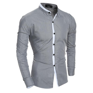 2018 New Fashion Men Shirt Slim Casual Solid Color Long-Sleeve Male Shirt Slim Fit Chemise Homme Camisa Masculina Size XXL-cgabuy