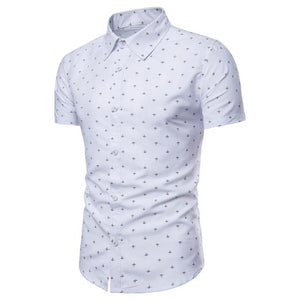 2018 Spring Summer New Men's Anchor Printing Short-sleeved Shirts Fashion Youth Bottoming Shirts For Men M-3XL-cgabuy