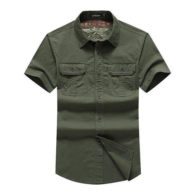 AFS JEEP Shirt Men 2018 New Summer Men's Solid Military Short Sleeves Shirts Cotton Breathable Chemise Loose Army Men's Shirt 60-cgabuy