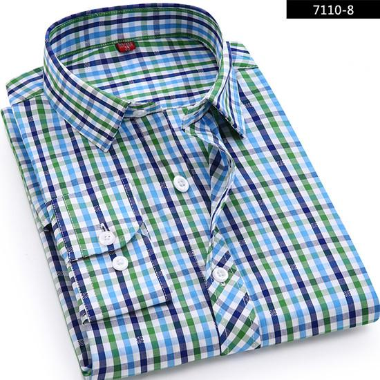 High Quality 2018 Men's Casual Plaid Shirts Long Sleeve Slim Fit 100% Cotton Shirt Leisure Styles Man Clothes Male New Fashion-cgabuy