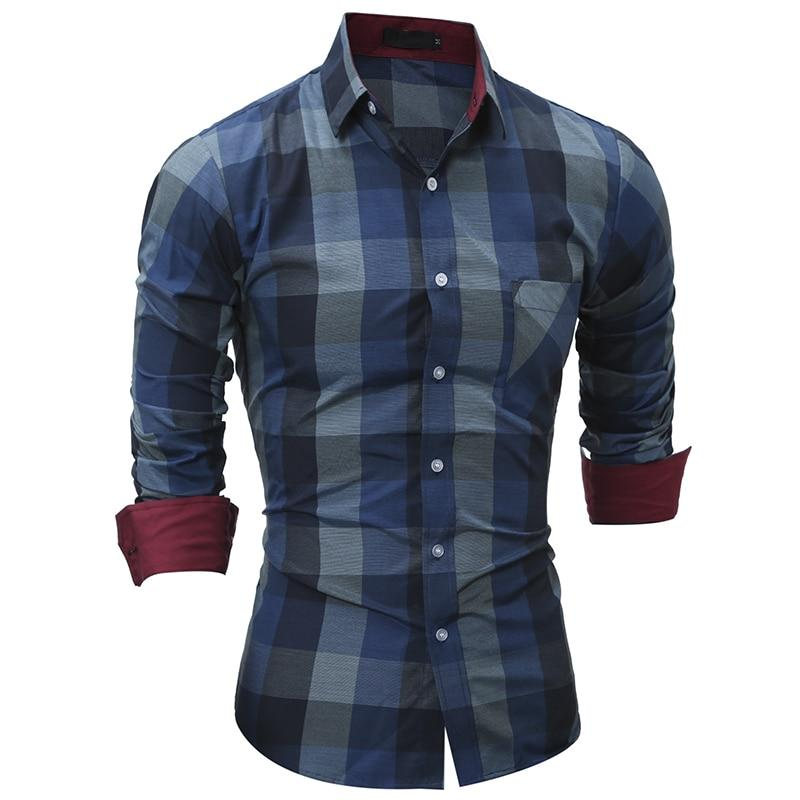 JCCHENFS 2018 Fashion Brand Shirt For Men Classic Plaid Shirt Casual Men's Shirts Long Sleeve Social Dress blouse-cgabuy