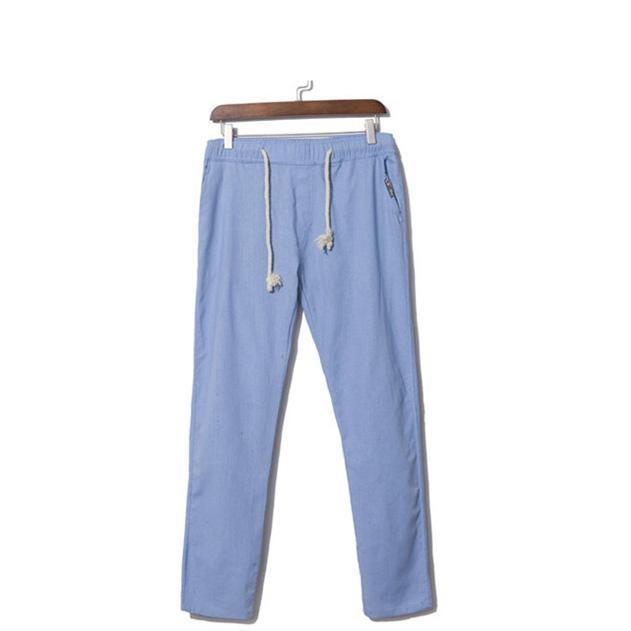 LILL 5XL Brand Summer Linen Casual Pants Men Breathable Thin Flax Trousers 2018 Joggers Sweatpants Blue Male Cotton Pants,UMA345-cgabuy