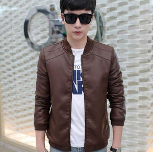 Hot 2018 autumn new fashion trend of casual Korean version of Slim solid color thin section collar XL leather jacket-cgabuy