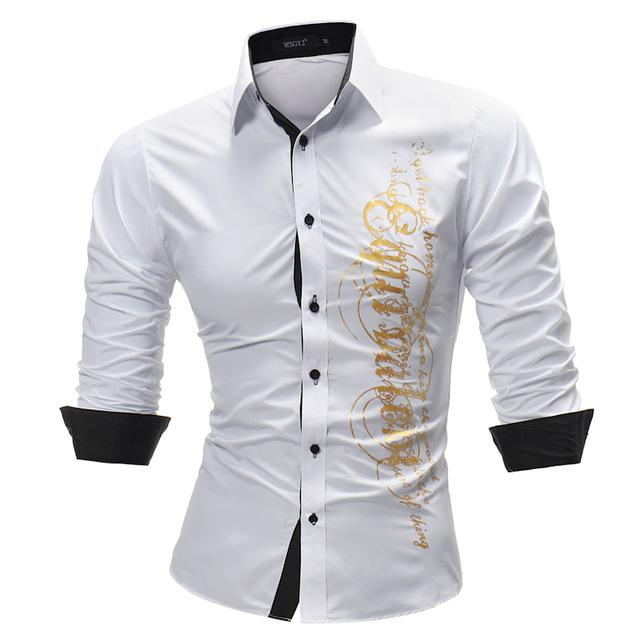 Brand 2018 Fashion Male Shirt Long-Sleeves Tops Letter Print Mens Dress Shirts Slim Men Shirt Plus Size 4XL-cgabuy