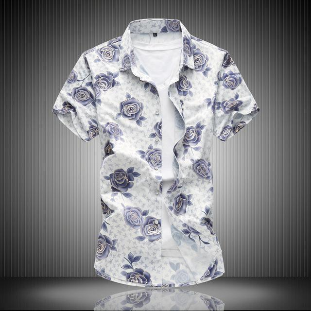 2018 summer shirt mens casual fashion flower color short sleeved shirts male high quality Silk cotton shirts Plus size M-6XL 7XL-cgabuy