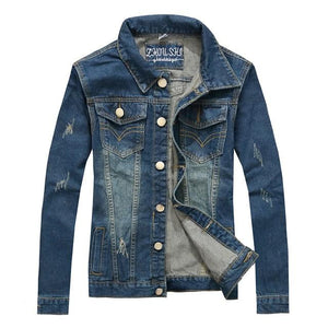 Denim Jacket Men's New Fashion Youth Cowboy Cotton Slim Fit Single Breasted Jackets Casual Spring male Slim Coat Plus Size 4XL-cgabuy
