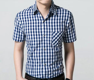Summer Men Shirt Short Sleeve Slim Casual Business cotton plaid Shirt Fashion Mens Dress Shirts camisa masculina Plus Size 4XL-cgabuy