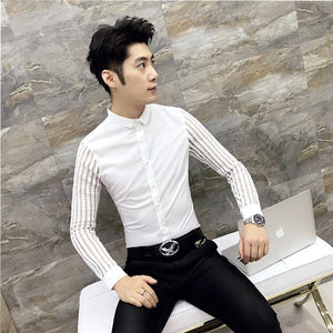 2018 New Arrival Autumn Mens Lace Shirt Party Prom See Throught Shirt Men Chemise Homme Social Club Shirt M-3XL Black White-cgabuy