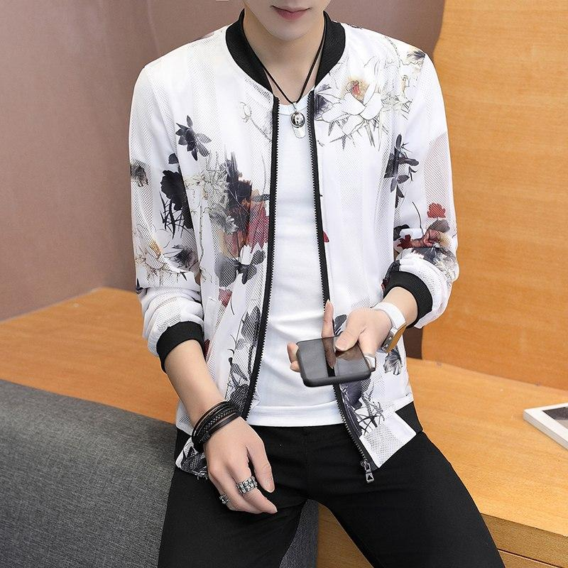 Summer Bomber Jacket Brand New 2018 Slim Fit Print Sun Protection Clothing Hollow Long Sleeve Casual Thin Jackets Men Clothes-cgabuy