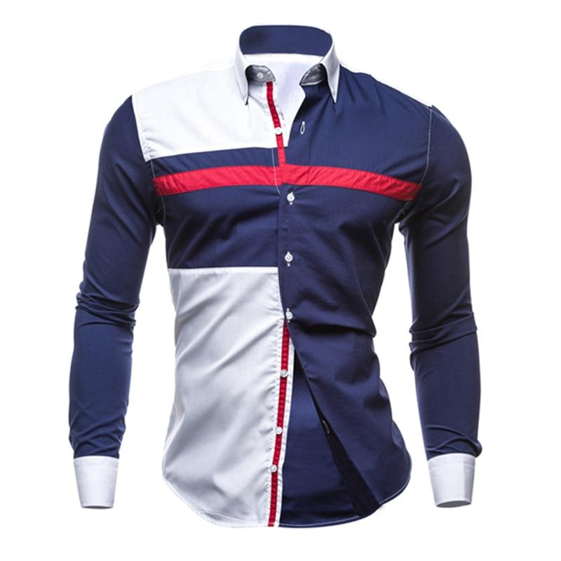 Men Long Sleeve Shirt 2018 Male Striped Shirts Slim Fit Camisa Social Masculina Male Casual Social Shirt Camisa Masculina XXL 25-cgabuy