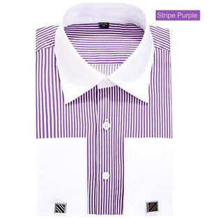 DRESSERVICE Large size 4XL 5XL 6XL 2017 new men twill French cufflinks long sleeve men shirt French cuff dress-cgabuy