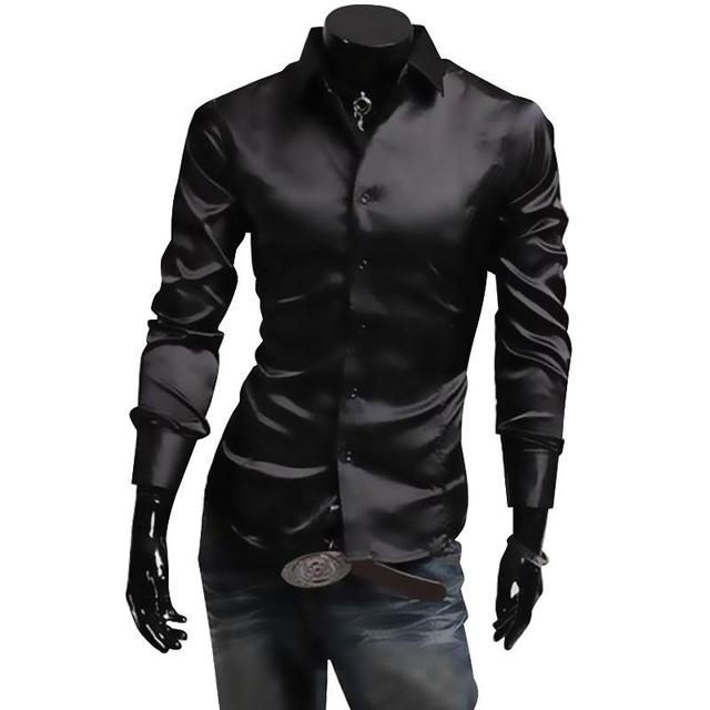 Huation Mens Silk Shirt 2018 Fashion Brand Men's Long Sleeve Shirt Men camisa social masculina Casual Black Men Dress Shirts-cgabuy