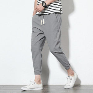 2018New High quality Men's Summer Casual Pants Natural Cotton Linen Trousers White Linen Elastic Waist Straight Man's Pants-cgabuy
