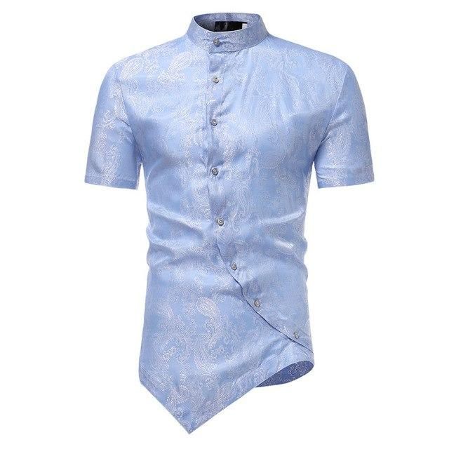 Paisley Floral Shirt Men 2017 Fashion Golden Foil Print Mens Dress Shirts Slim Fit Irregular Slant Button Design Chemise Homme-cgabuy