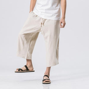 Mens Summer Loose Casual Linen Pants 2018 Harem Wide Leg Trousers Male Big Drop Crotch Chinese style Hip hop man Joggers Pants-cgabuy