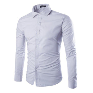 New Men's Fashion Casual Long Sleeve Shirt Social Business Men Slim Shirt Dress Shirt Brand Men's Clothing Soft and Comfortable-cgabuy