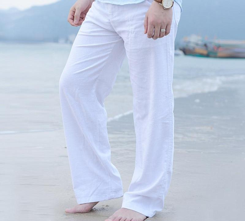 New Top quality Men's Summer Casual Pants Natural Cotton Linen Trousers White Linen Elastic Waist Straight Man's Pants-cgabuy