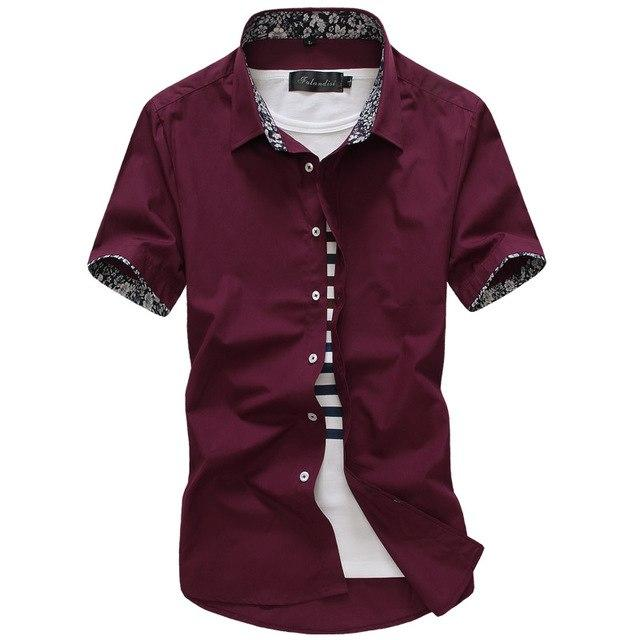 Brand 2018 Fashion Male Hawaiian Shirt Short-Sleeves Tops Small floral design Design Mens Dress Shirts Slim Men Shirt 5XL-cgabuy