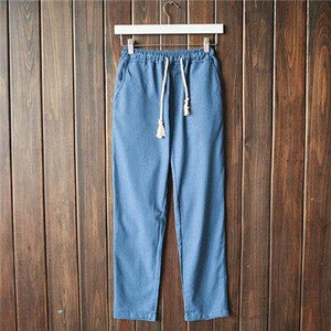 Chinese wind spring and summer men's cotton slacks pants thin casual trousers men linen pants men's casual trousers solid home-cgabuy