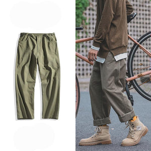 Privathinker Casual Cargo Pants Man Loose Vintage Straight Pants Male Wild Leg Trousers Khaki Pants Button Waist HipHop 2017-cgabuy