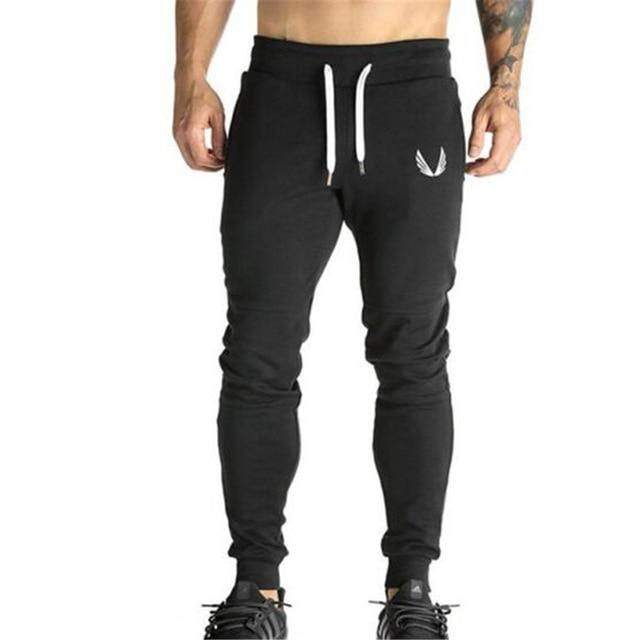2017 Cotton Men Jogger sportswear Pants Casual Elastic cotton Mens Fitness Workout Pants skinny Sweatpants Trousers Jogger Pants-cgabuy