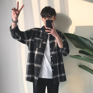 Privathinker Spring Oversized Long Sleeve Shirt Men Women Casual Plaid Flannel Burr Shirts Harajuku Male Strip Shirts-cgabuy