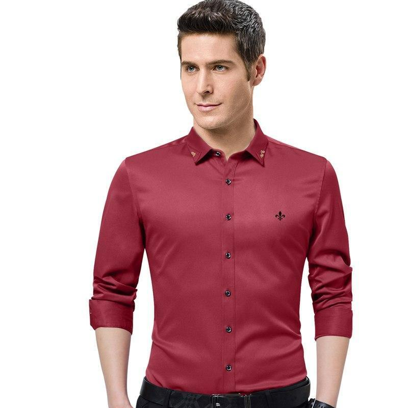 Dudalina 2018 New Male Men Shirts Male Long Sleeved Solid Color Cotton Slim Fit Men's Social Business High Quality Casual Shirt-cgabuy