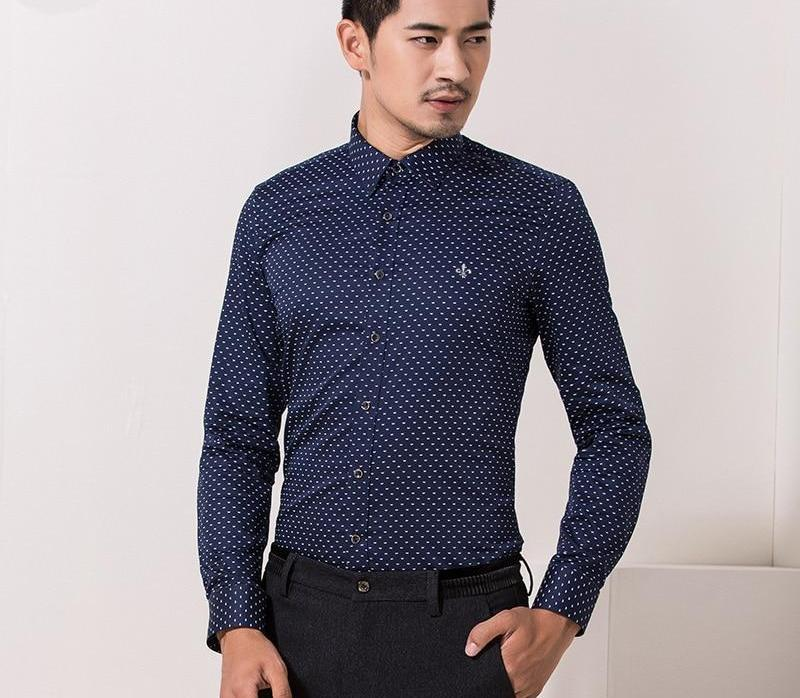 Dudalina 2018 Male 100% Cotton Men Shirts Male Long Sleeved Polka Dot Slim Fit Men's Social Business High Quality Casual Shirt-cgabuy