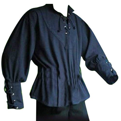 Medieval Men Shirt Solid Color Bandage Stand-up Collar Knight Top Without Belt-cgabuy