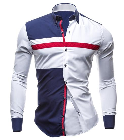 T-Bird Brand 2018 Men Shirt Tricolor Dress Shirt Long Sleeve Slim Fit Camisa Masculina Casual Male Hawaiian Shirts XXL M29FU-cgabuy