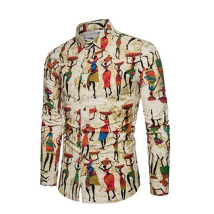New Brand-Clothing 2018 Fashion Shirt Male Cotton and linen Dress Shirts Slim Fit Turn-Down Men Long Sleeve Mens Hawaiian Shirt-cgabuy